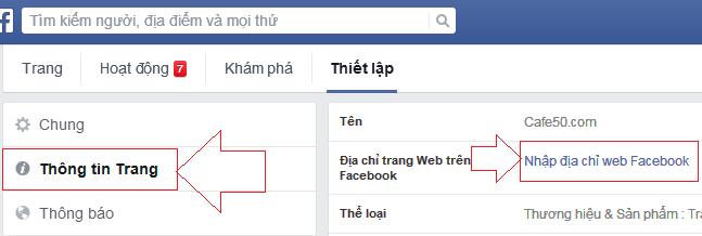 Chọn địa chỉ URL cho Page