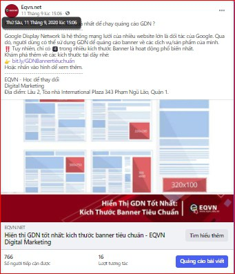 Bài viết có Link website trên Fanpage Facebook