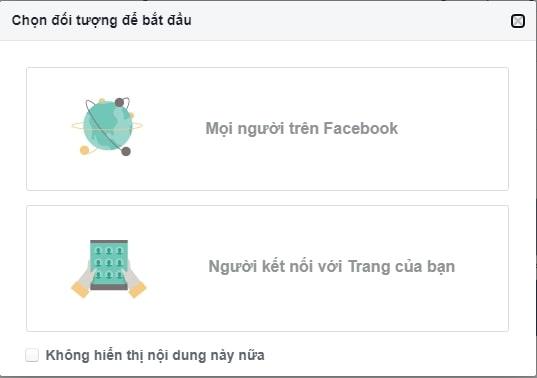 Chọn đối tượng để bắt đầu Facebook audience insights