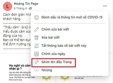 Ghim bài viết trên Fanpage Facebook