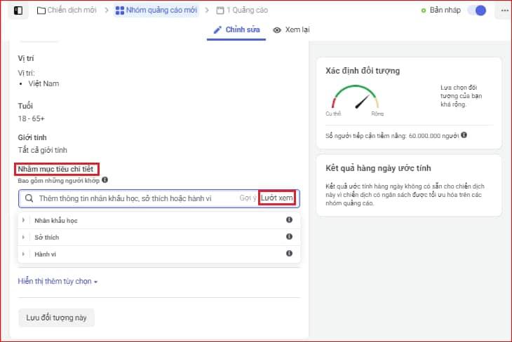 Nhắm mục tiêu trong quảng cáo Facebook