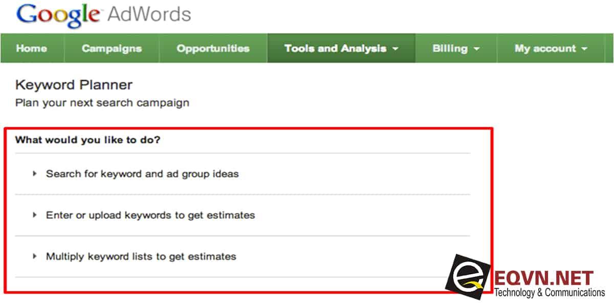 công cụ hỗ trợ lựa chọn từ khóa google adwords