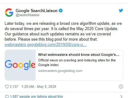 Google xác nhận cập nhật thuật toán cốt lõi tháng 5 năm 2020