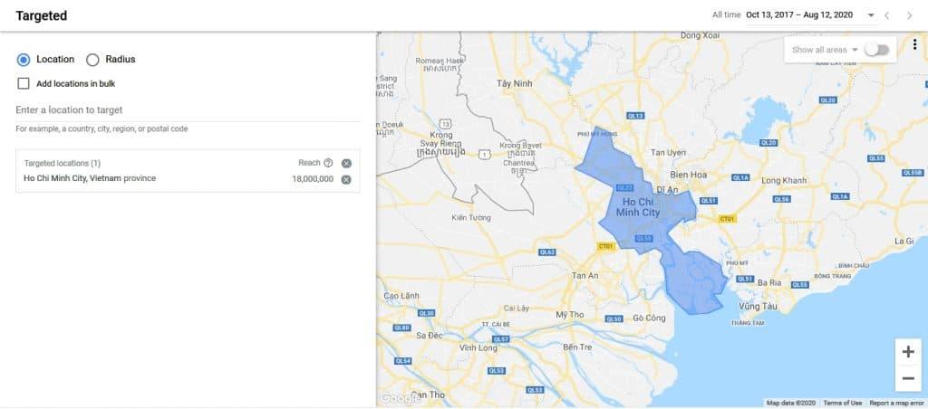 Google ads location setting
