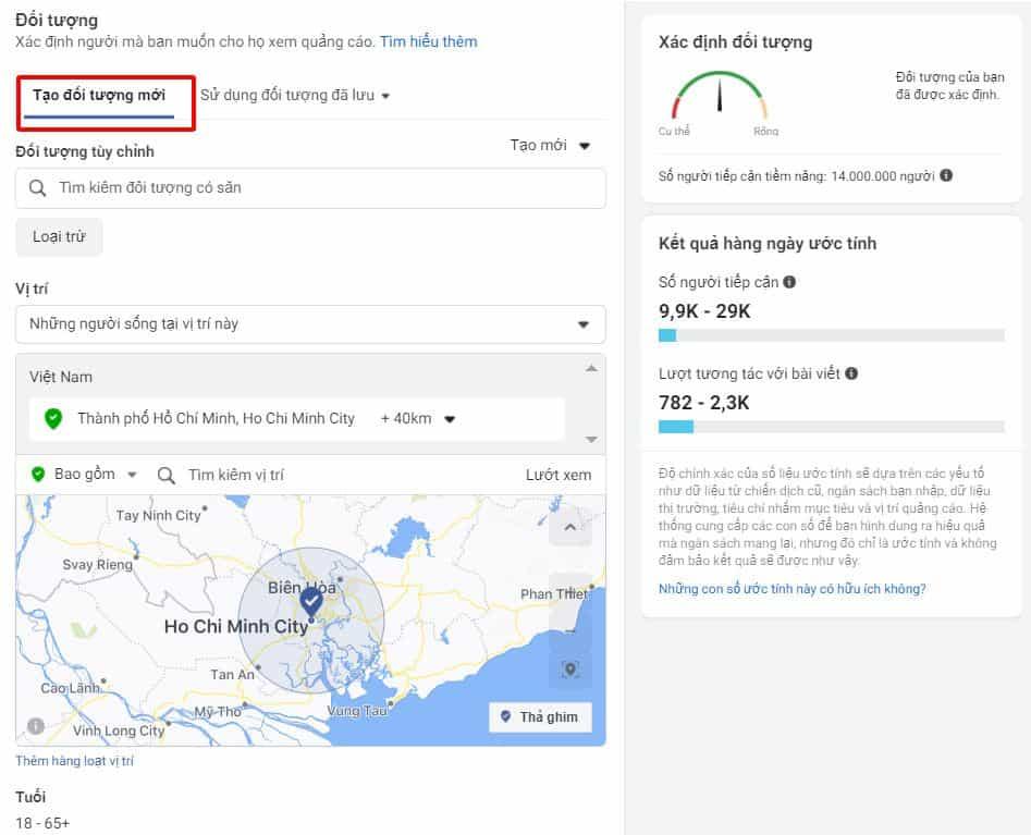 Chọn đối tượng quảng cáo facebook dựa trên vị trí địa lý