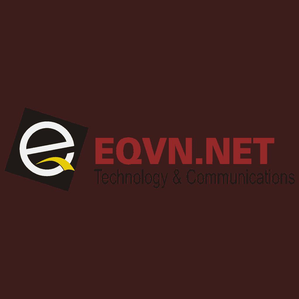Logo chữ đỏ EQVN.NET kích thước vuông