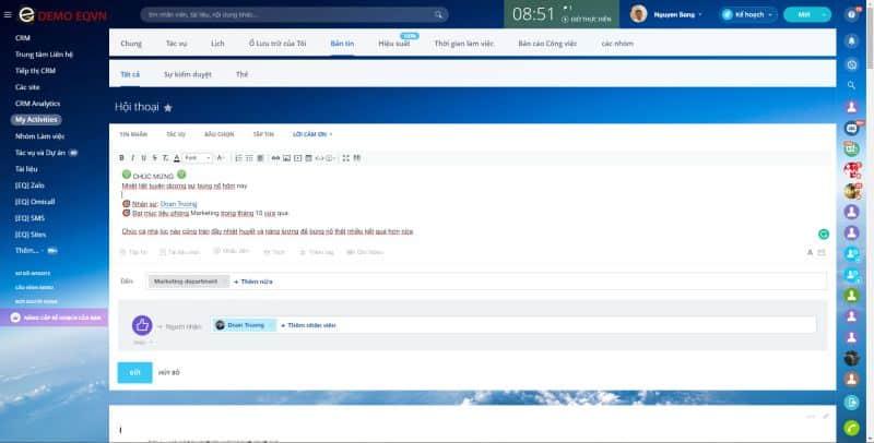 Mạng xã hội doanh nghiệp giao tiếp trong BItrix24